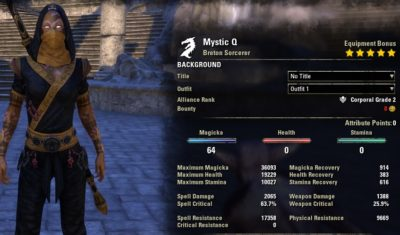 Magicka Sorcerer build pve unbuffed Mystic