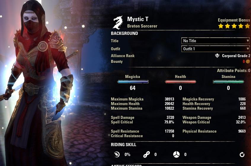 Magicka Sorcerer build pve buffed MysticDH