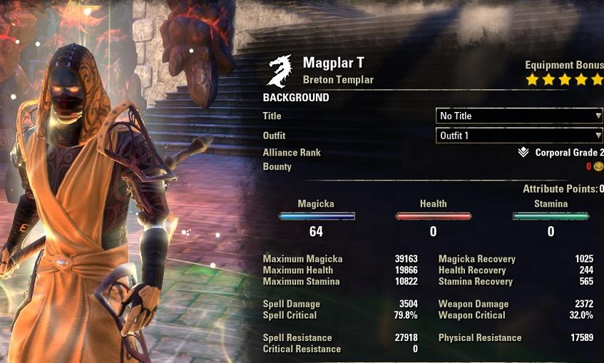 Magicka Templar PvE Build buffed