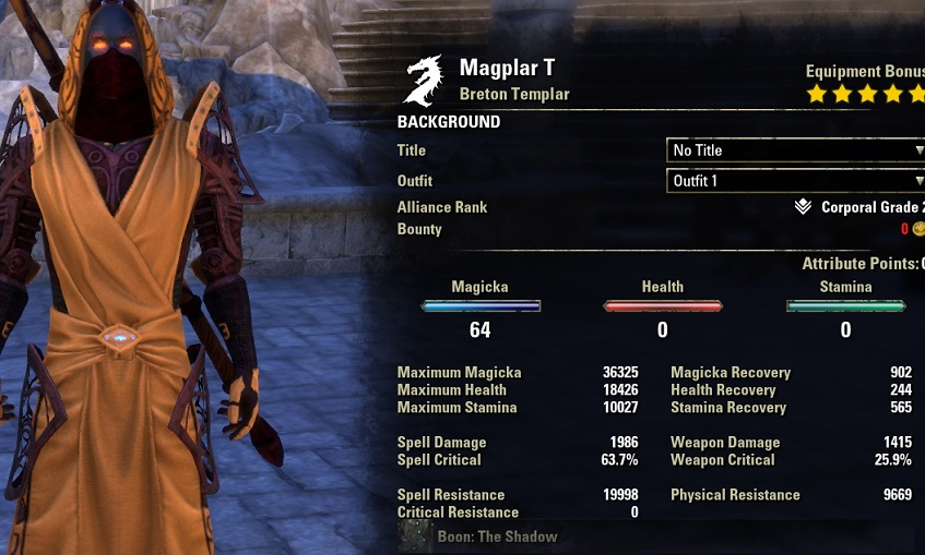 Magicka Templar PvE Build unbuffed