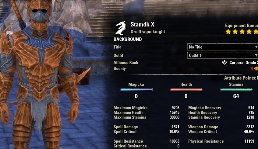 Stamina Dragonknight 2h Build PvE unbuffed stats