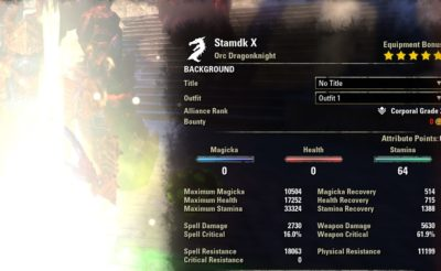 Stamina Dragonknight Build PvE buffed stats