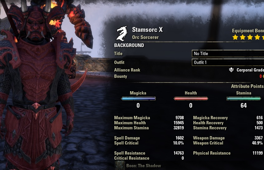 Stamina Sorcerer Build 2H unbuffed stat