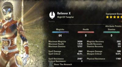 Templar Healer Build PvE Reliever