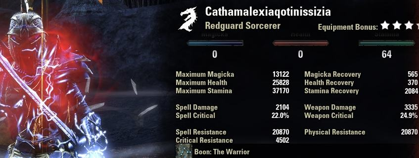 Stamina Sorcerer Werewolf Build PvP