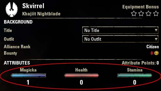 Magicka Nightblade Attributes Nara