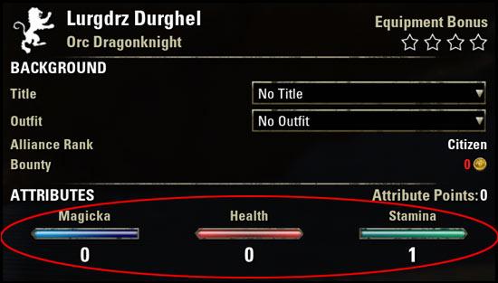 Stamina Dragonknight Beginner Guide Attributes