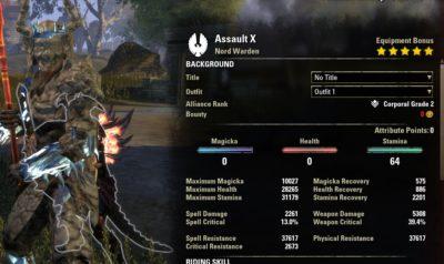 Assault Stamina Warden PVP Build buffed