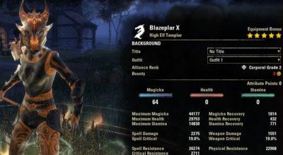 Blazeplar Magicka Templar stats buffed