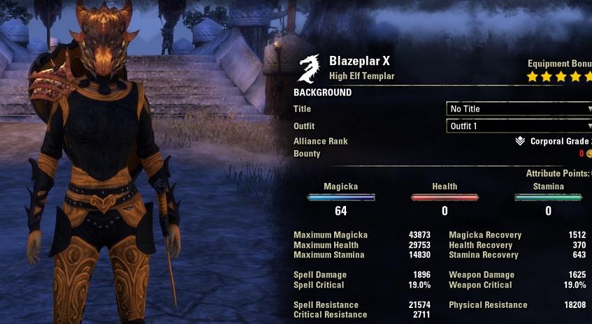 Blazeplar Magicka Templar stats unbuffed