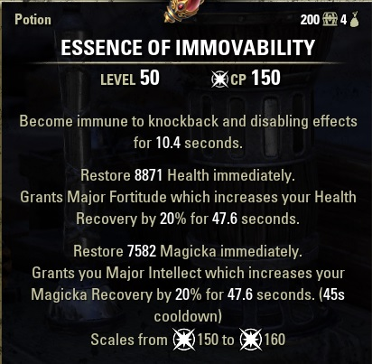 Essence of Immovability Potion Magicka