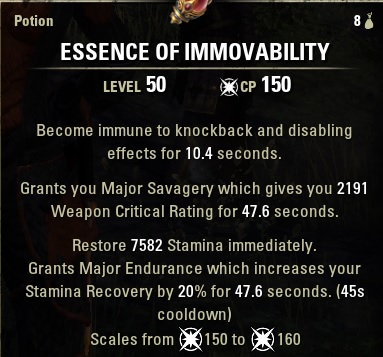 Essence of Immovability potion crit