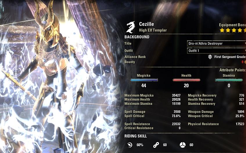 Solo Magicka Templar Build buffed