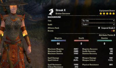 Streak Magicka Sorcerer Build PvP unbuffed