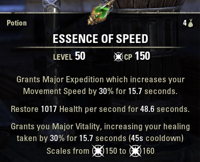 essence of speed vitality potions