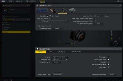 Corsair Virtuoso ICUE software device settings