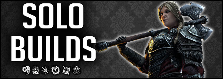 Solo Builds Banner showcasing Lyris Titanborn and all ESO class logos