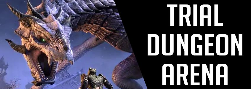 ESO Dungeons, ESO Arenas, ESO Trials Banner Picture showcasing a Dragon from Sunspire