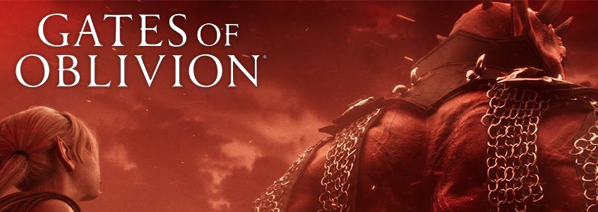 Gates of Oblivion Banner Image with Eveli Sharp-Arrow and Mehrunes Dagon